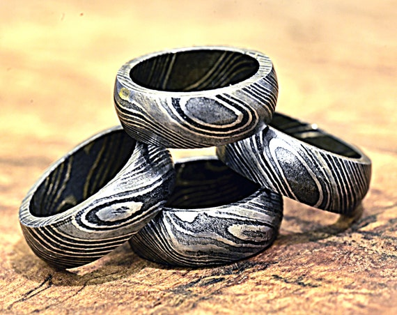Damascus Ring, Hand Forged & Finished Damascus Steel Ring, Copper Inlay Hand Carved, US size 9 ring, wedding band, engagement ring