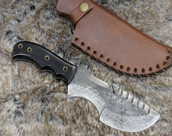 "DAMASCUS HUNTING KNIFE, Custom Damascus knife, 11.0"" ,Hand forged, Damascus steel knife, Bull Horn Handle Custom Tracker Knife, Personalized"