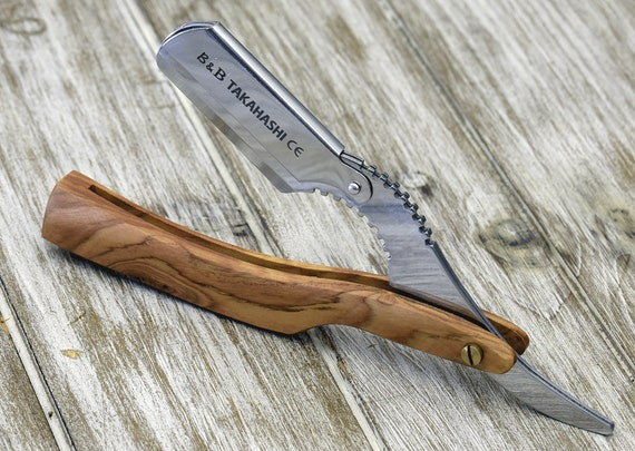Personalized Straight Razor, Shave Ready comes with 200 Disposable blade, Exotic Olive Wood Handle, Gift men boy friend dad husband wife