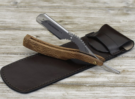 Personalized Straight Razor, Shave Ready Comes with 200 blades, Exotic Olive wood handle, Leather Carrying case