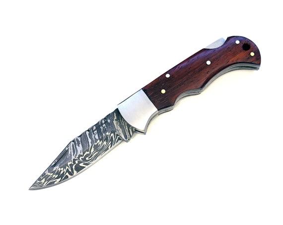 "Pocket knife, 6.5"" Custom Damascus Folding knife, Damascus Steel Knife, Personalized Damascus knife, hunting Pocket knife, Purple heart wood"