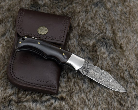 "Personalized POCKET KNIFE 6.5"" Folding Hunting Knife groomsman gift Damascus Steel pocket knife handmade custom knife"