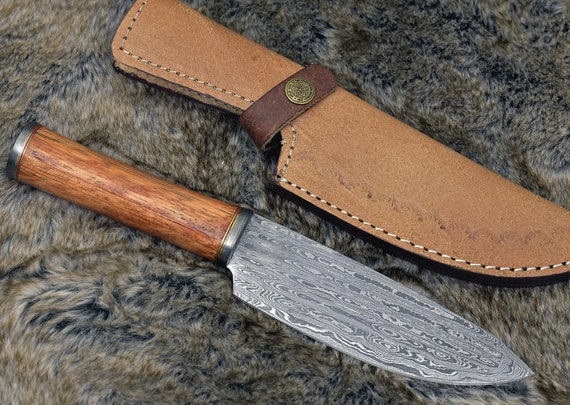 """DAMACUS CHEF KNIFE, Pro chef kitchen knife, 10.5"""" Custom, Exotic Red Meranti Wood handle, French chef knife , Damascus Steel knife"""