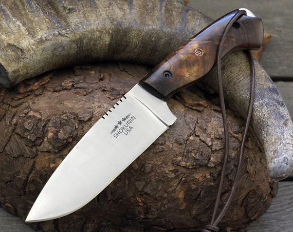 """HUNTING KNIFE, 10"""", SK135 Stainless Steel, Skinning knife handmade knife steel with exotic rose wood handle personalized gift"""