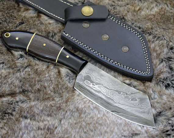 DAMASCUS SEAX KNIFE, Damascus Steel Knife, Damascus Hunting, composite handle, hunting knife w/ exotic wenge wood handle 3489