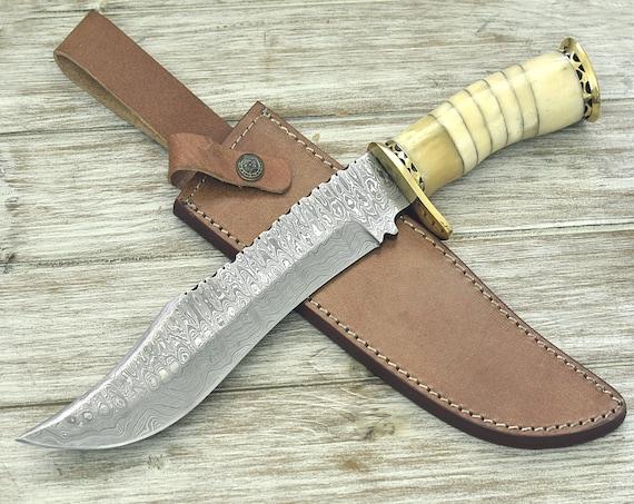 "Personalized, Engraved, DAMASCUS Bowie Knife, damascus steel knife, tactical,  Bowie knife, hunting knife 14"" Bone Mosaic Handle Custom"