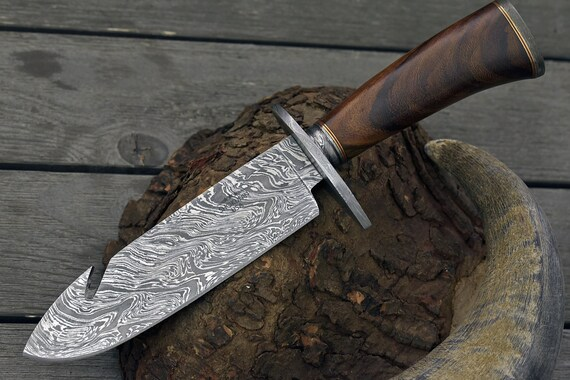 "DAMASCUS BOWIE KNIFE, Custom Damascus knife, 12.0"" ,Hand forged, Damascus steel knife, Damascus Guard & Pommel, Rose wood handle"