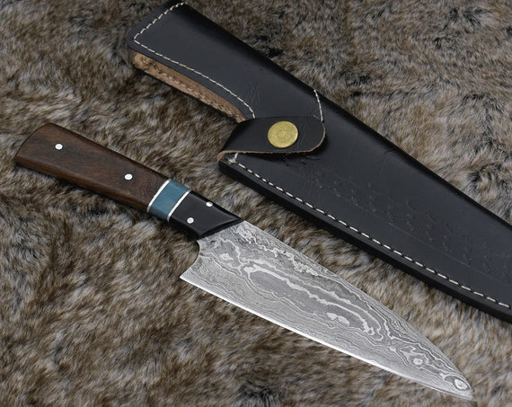 "Personalized 10.0"" DAMASCUS CHEF KNIFE, hand forged Damascus steel blade, Exotic rose wood bone & horn composite handle"