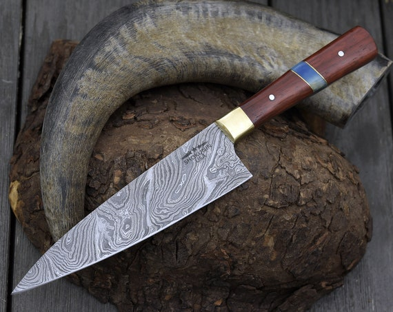 "CUSTOM, 10"", PRO CHEF knife, Damascus Steel knife, French Chef knife w/ Exotic red heart wood & bone composite handle"