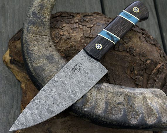 """Personalized 10.5"""" DAMASCUS CHEF KNIFE, Damascus steel French style chefs knife with Exotic Wenge wood & turquoise composite handle"""