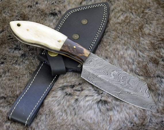 """Tomahawk damascus steel hunting knife, DAMASCUS SEAX KNIFE, Clip point, new, 9"""", tactical camping utility knife"""