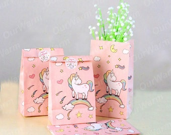Paper Gift Bags Pink Candy Bag  12pcs