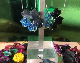 flower earrings resin