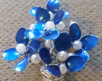 Silver Wire Blue and Pearl Pendant