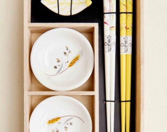 Yellow Floral Sushi Set for 2