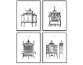 Chippendale Prints Furniture Catalogue Engraving Antique Cabinets Bed Couch 18th Century Country Home Decor Drawing Black and White ah 126