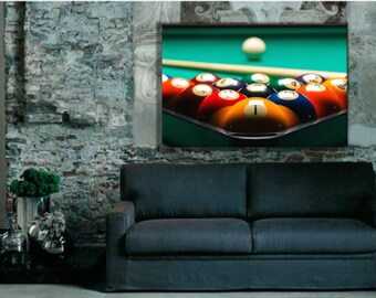 billiards wall decor, pool table photo print, billiards stretched ready to  hang wall art