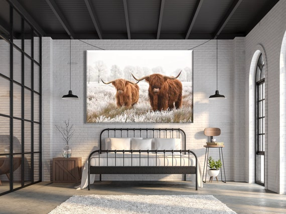 Highland Cow Highland Bull Scotland Cow Wall Art Canvas Farmhouse Hanging Decor