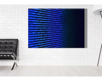 Abstract Binary Code Wall Art,  Two-Symbol system print, IT Office Poster, It Student Gift Idea, Computing Canvas,  Programmer Gift