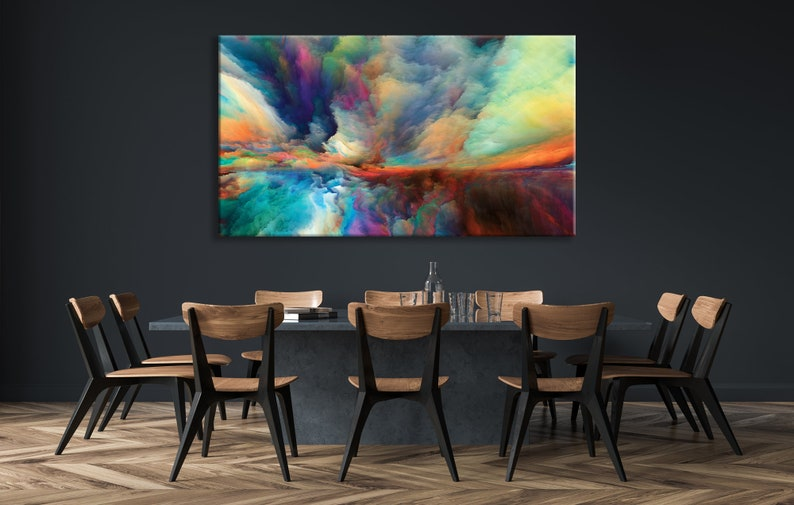 Multicolor Mist Abstract Wall Art Bright Splashes Poster image 0