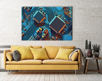Circuit Board Art, Science Art, Science Poster, Circuit board print, Motherboard Canvas, Engineer Technology Gift, PC Chip Canvas Print