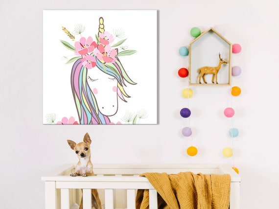 DEEP EDGE CANVAS PICTURE UNICORNS /& RAINBOWS CAN BE PERSONALISED FREE P/&P NEW