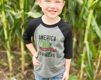 YOUTH - Baseball Tee - America Needs Farmers - Graphic Tee - Deep Heather/Black - Bella Canvas - UNISEX - Farmer Shirt - Support Your Farmer