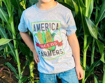 YOUTH - America Needs Farmers - Graphic Tee - Athletic Heather - Bella Canvas - UNISEX - Farmer Shirt - County Fair - Support Your Farmer