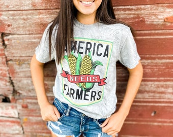 ADULT - COLOR BLAST - America Needs Farmers - Comfort Colors - Farmer Shirt - Corn - Support Your Farmer - Tie Die Farmer Shirt - Fair Shirt