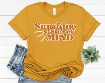 Sunshine State of Mind - Graphic Tee - Summer Tee - Mauve - Bella + Canvas - Unisex Sizing - Mustard