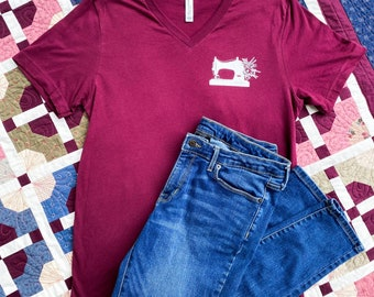 V-NECK - SEW HAPPY - Graphic Tee - Quilter Tee - Mauve - Bella + Canvas - Unisex Sizing - Maroon - Sewing Shirt - Sewing Machine Shirt -