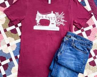 SEW HAPPY - Crew neck - Quilter Tee - Mauve - Bella + Canvas - Unisex Sizing - Maroon - Sewing Shirt - Sewing Machine Shirt - Quilter Gift