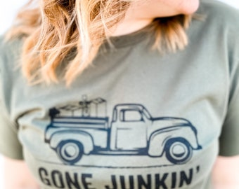 GONE JUNKIN' - Antique Shirt - Graphic Tee - Antique Junkie - Bellla and Canvas - Solid Military Green