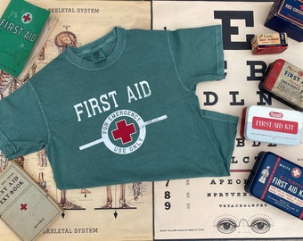 FIRST AID - For Emergency Use Only - Short Sleeve Tee - Vintage - Comfort Colors - Nurse shirt - Nurse gift - Healthcare Hero - Unisex