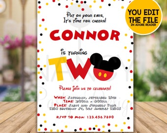 Red And Yellow Birthday Invitation Polka Dot Second Mickey Printable 2nd Instant Download