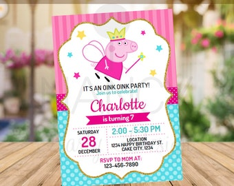 Editable Peppa Pig Invitation Birthday Party Theme Printables Glitter Invite INSTANT DOWNLOAD