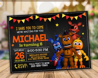 Five Nights At Freddys Invitation Birthday Party Instant Download FNAF Editable