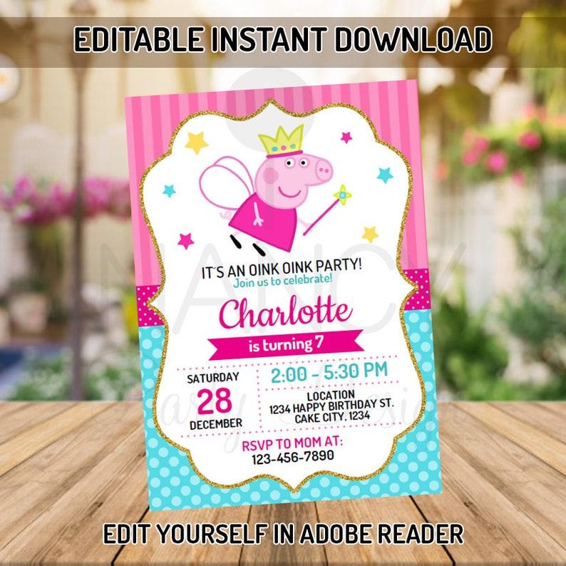 f156a3ae046 Editable Peppa Pig Invitation Peppa Pig Birthday Party Peppa