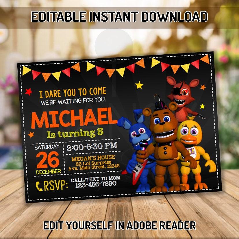 Five Nights At Freddys Invitation Birthday Party