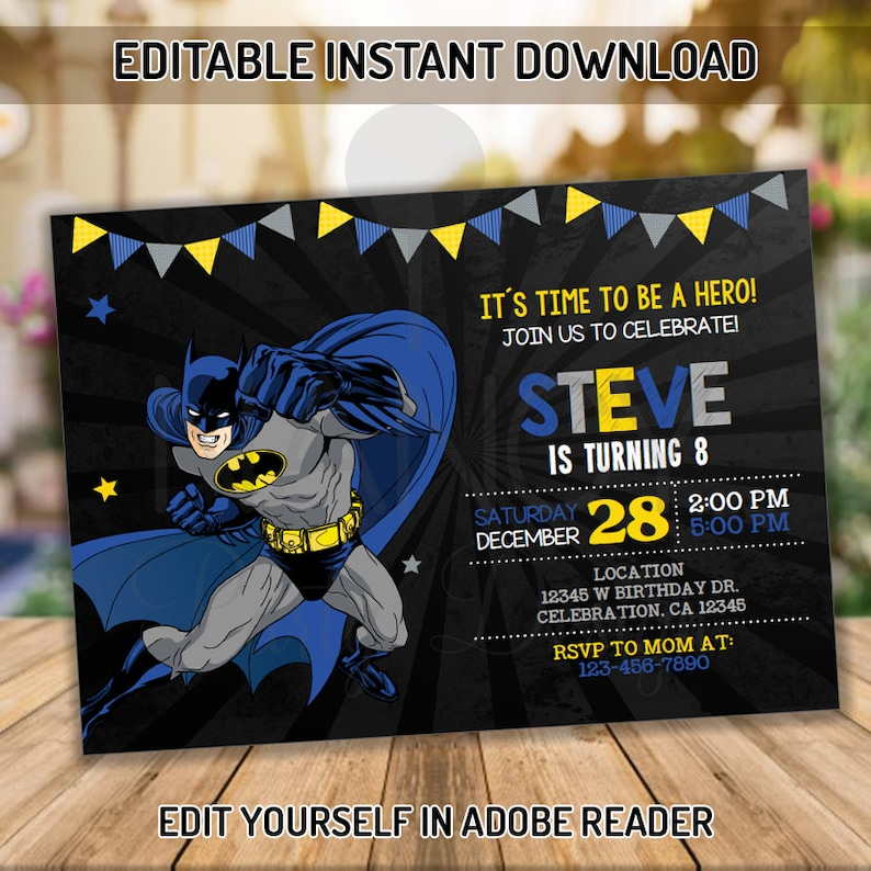 Editable Batman Invitation Superhero Birthday Printable Party