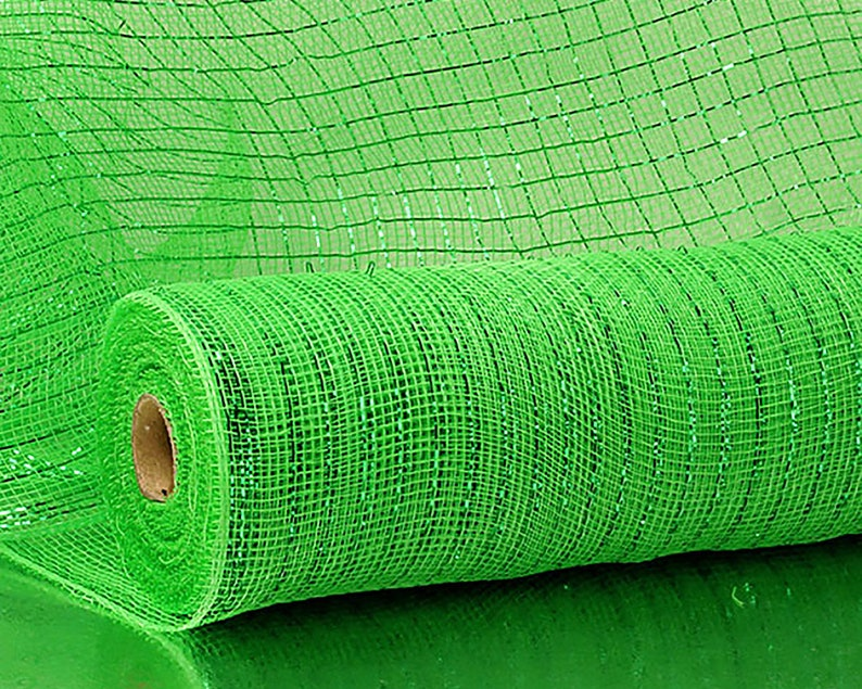 deco mesh roll gold green green metallic stripe green bright spring green light green 10 YDS 21 Green mesh lime green apple green