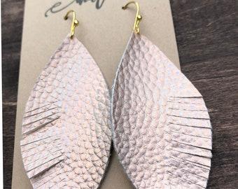Metallic rose gold pebbled leather earrings
