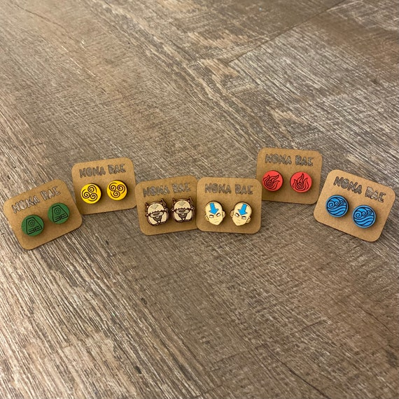Video Game Earrings - Gamer Earrings -wooden earrings- TV Show Earrings - Avatar Earrings