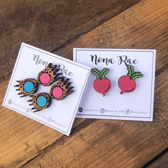 Witch Heroine Wooden Earrings - laser Cut- Hand painted