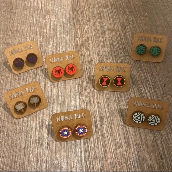 Superhero Earrings - Comic Earrings -wooden earrings- TV Show Earrings