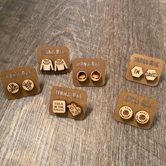 Schitt's Creek Earrings - wooden earrings- TV Show Earrings