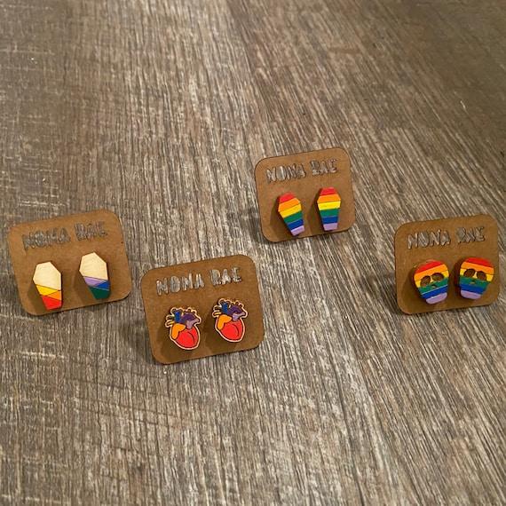 Spooky Rainbow Wooden Earrings -Pride Earrings - LGBTQ Earrings