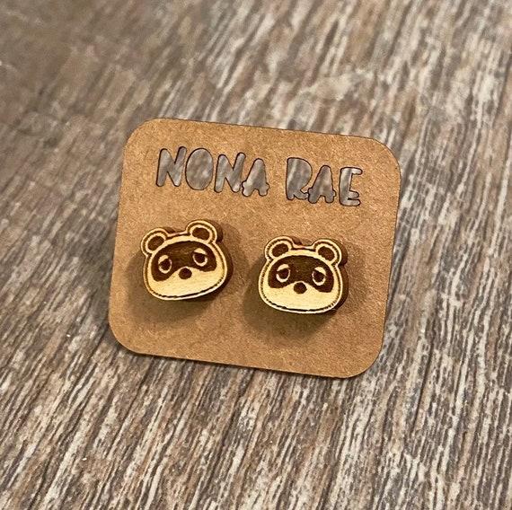 Animal crossing- Tom Nook - wooden earrings