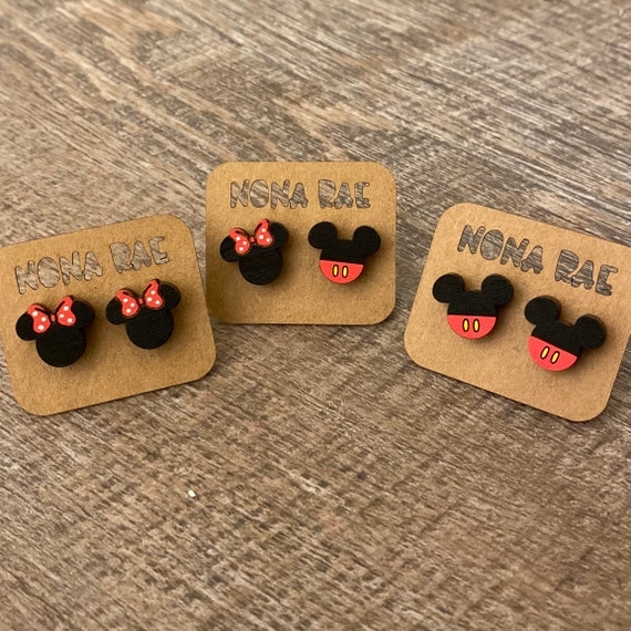 Hand Painted Wooden Mouse Earrings