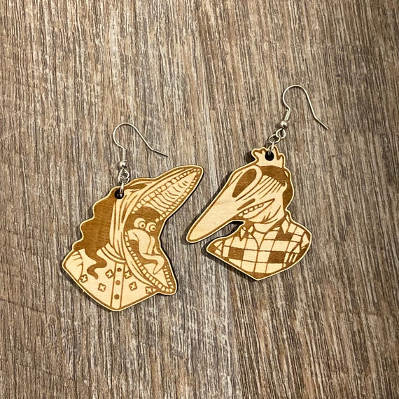 Beetlejuice Earrings - Wooden Earrings - Fandom Earrings - Geeky Earrings - Laser Cut Earrings